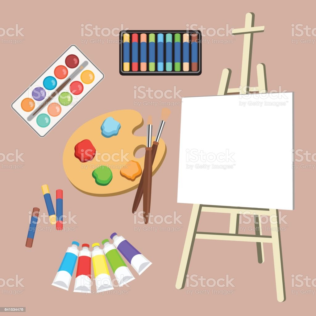 Realistic art supplies, set art materials. Artist Accessories. Easel, canvas, tablet, pastel, paint in tubes, watercolor, palette and brush. Vector objects for drawing, painting vector art illustration