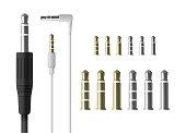 Realistic audio mini jack plug set. Isolated vector illustration of white connector