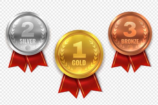 現実的な賞メダル。優勝ゴールド メダル青銅銀最初場所トロフィー チャンピオン名誉サークル式賞 - 金メダル点のイラスト素材/クリップアート素材/マンガ素材/アイコン素材