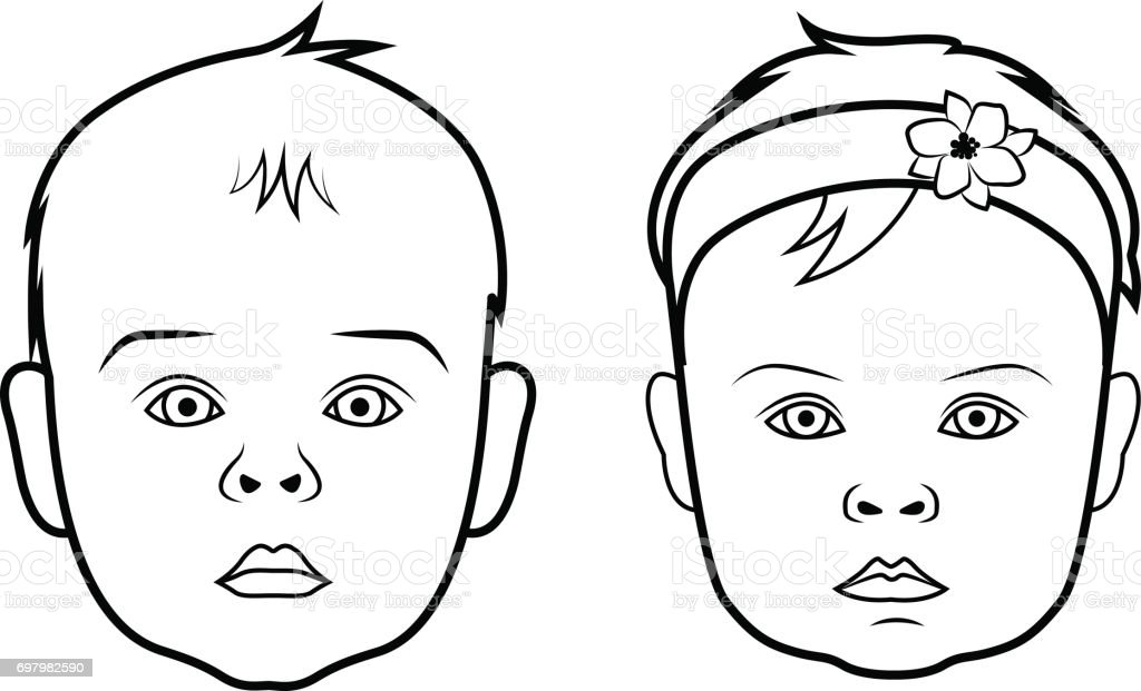 Line Drawing Of Baby Face : Realistic baby face icon isolated vector illustration on