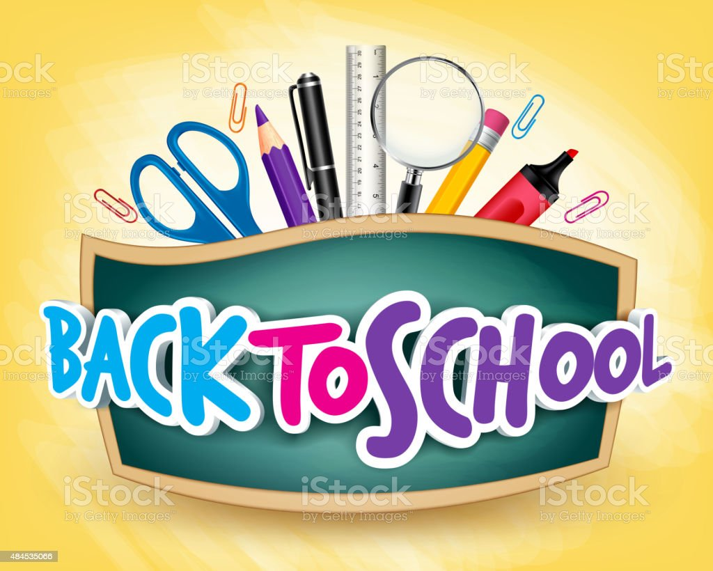 3D Realistic Back to School Title Poster Design vector art illustration