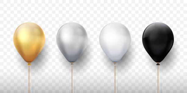 Realistic balloons. Golden 3d transparent party balloons, silver white birthday decoration. Vector party ballon set Realistic balloons. Golden 3d transparent party balloons, silver white birthday decoration. Vector flying party ballon set hot air balloon stock illustrations