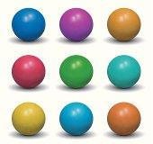 Realistic Balls - Nine Color Shades
