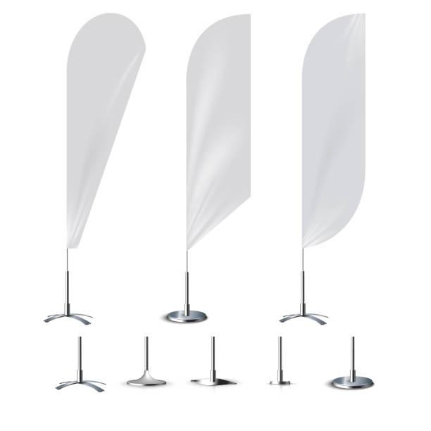 Realistic banner flag 3d mockup on white backdrop. vector art illustration