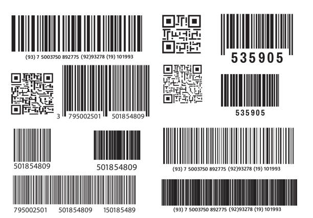 Realistic bar code vector art illustration