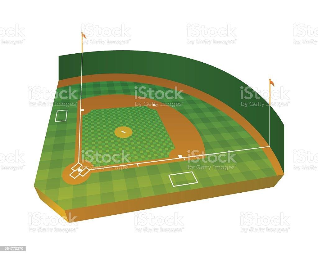 Realistic Baseball Field Illustration vector art illustration