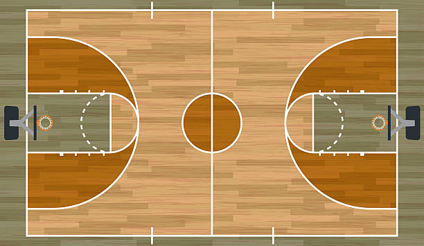 Royalty free basketball court clip art vector images for How wide is a basketball court