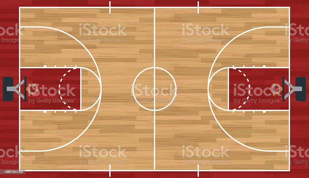 Illustration réaliste de basket-ball Court - Illustration vectorielle