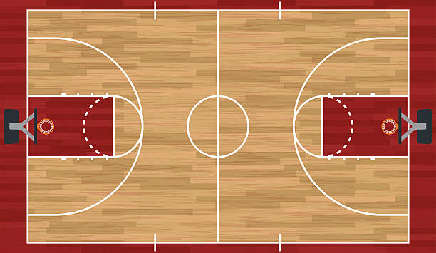 Realistic Basketball Court Illustration vector art illustration