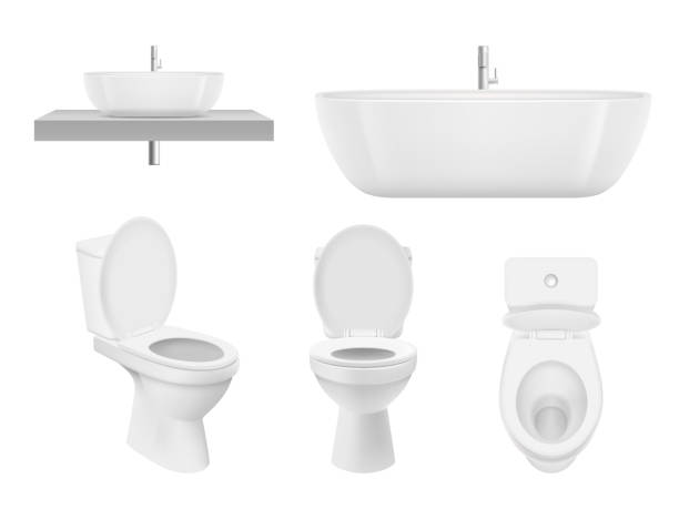 Realistic bathroom collection. Toilet, washing cabinet bowl bathroom sink clean white for fresh washroom basin. Vector pictures Realistic bathroom collection. Toilet, washing cabinet bowl bathroom sink clean white for fresh washroom basin. Vector pictures. Illustration of bathroom toilet, sink or basin, plumbing bath bathroom silhouettes stock illustrations