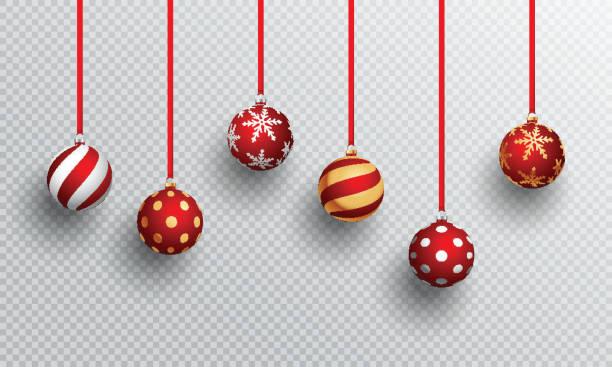 stockillustraties, clipart, cartoons en iconen met realistische kerstballen in verschillende designs, hangen af van png of transparante achtergrond. - kerstbal