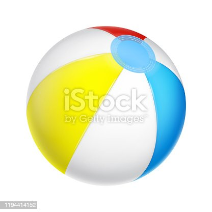 Vector realistic beach ball. White, red, yellow and blue inflatable ball isolated on white. EPS 10