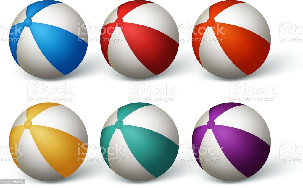 Realistic Beach Balls Set in White Background vector art illustration