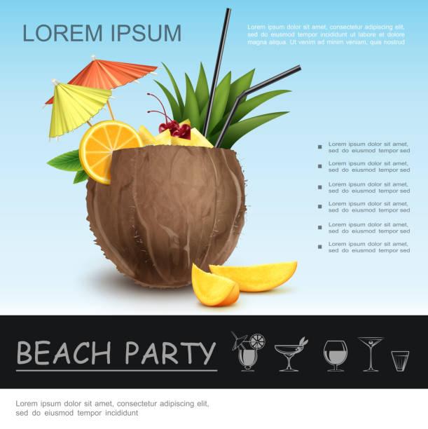 Realistisches Beach-Party-Konzept – Vektorgrafik