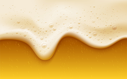 Realistic beer foam with bubbles. Beer glass with a cold drink. Background for bar design, oktoberfest flyers. Vector illustration