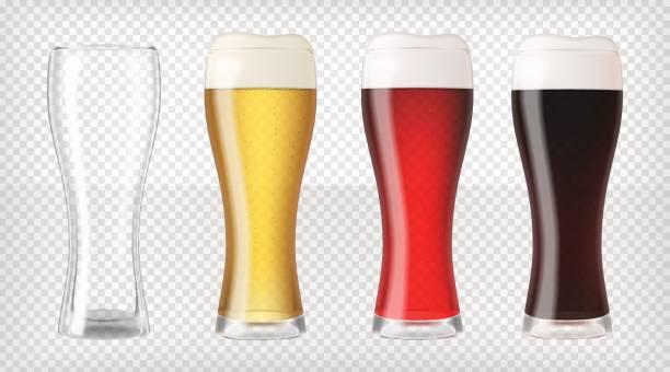 Conjunto de copos de cerveja realista - ilustração de arte em vetor