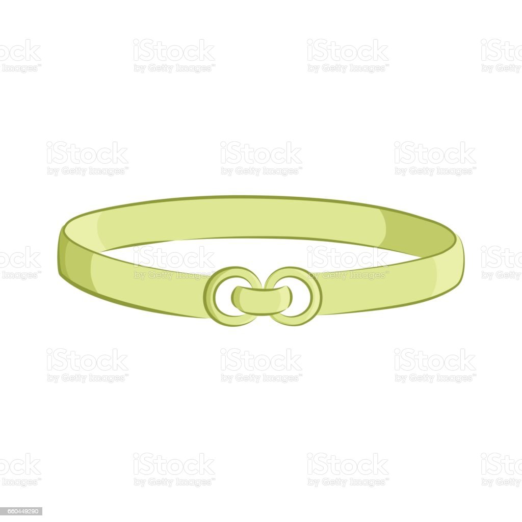 Realistic belt. Women s fashion accessories. The green object isolated on white background. Vector cartoon illustration in hand drawing style for your design. vector art illustration