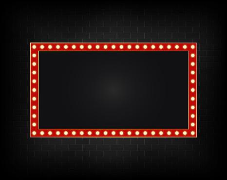 Realistic billboard on dark brick background wall, led lights frame. Vector
