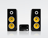 Realistic black acoustic stereo system with yellow speakers. Vector illustration.
