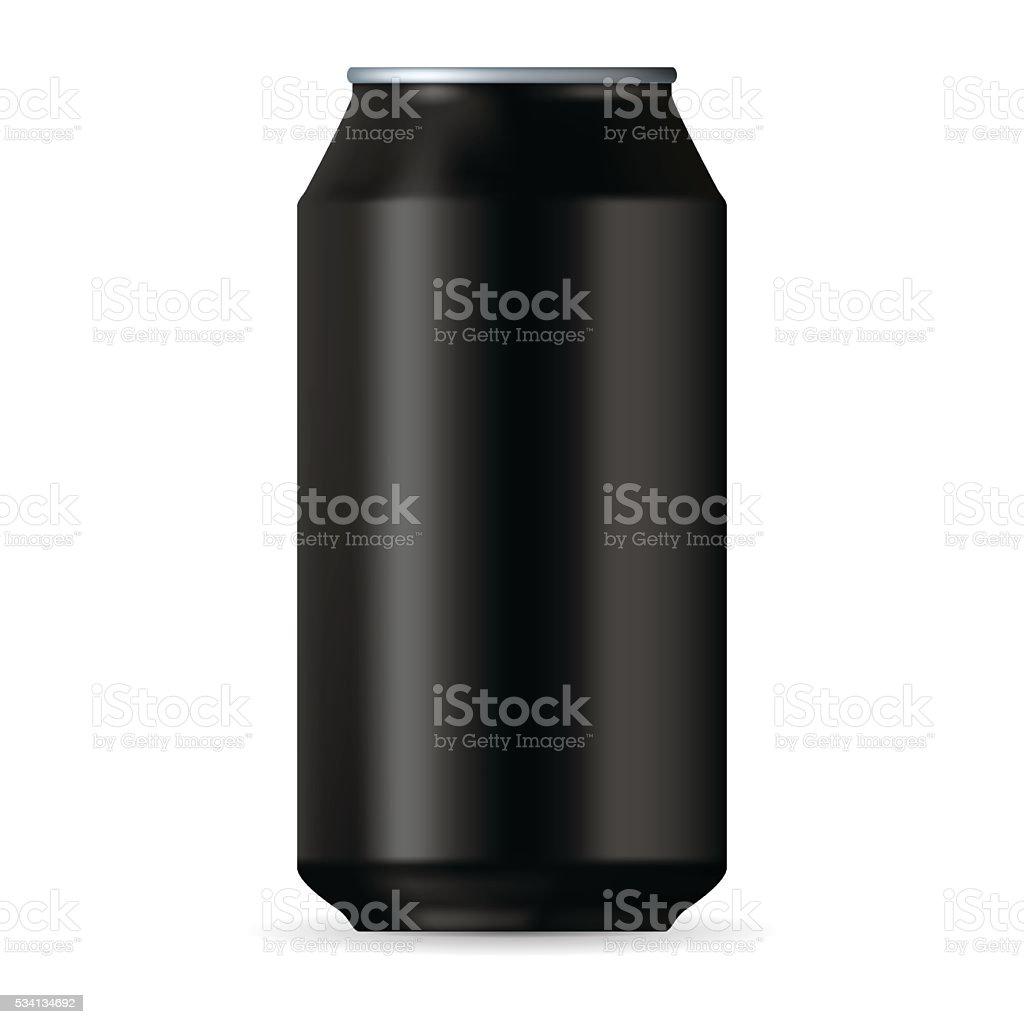 Realistic black aluminum canvectorkunst illustratie