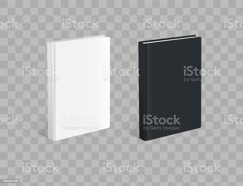 Realistic black and white books on the checkered background vector art illustration