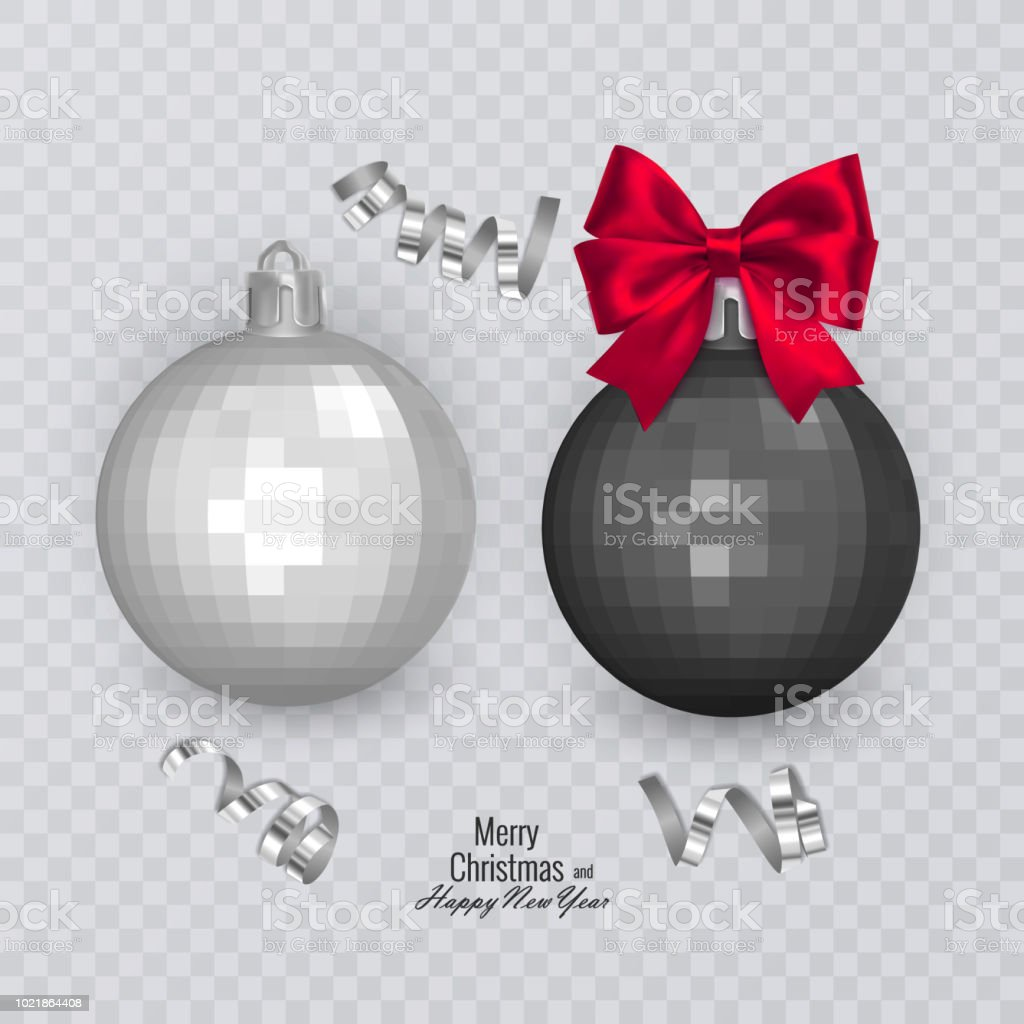 realistic black and white christmas balls with red bow on transparent background christmas decorations - White Christmas Balls