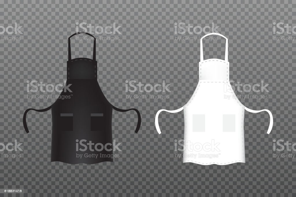 Realistic Black and white kitchen apron. Vector illustration. vector art illustration