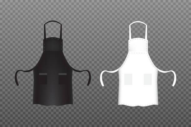Realistic Black and white kitchen apron. Vector illustration. - illustrazione arte vettoriale