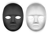 Realistic black and white masks, mask pattern design