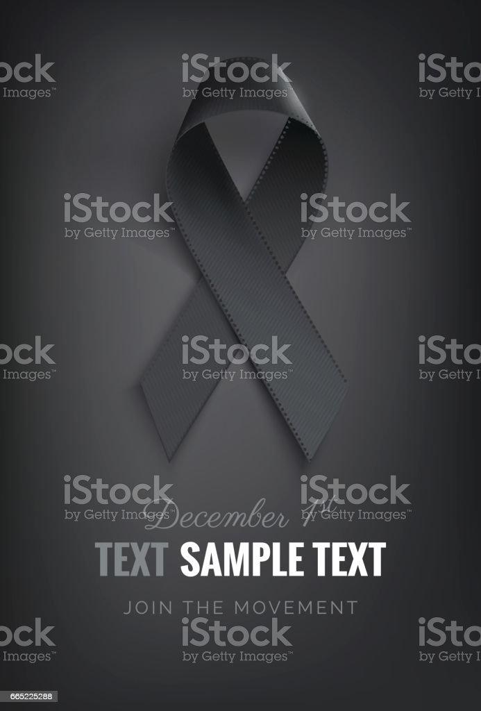 Realistic black awareness ribbon, isolated on black. vector art illustration