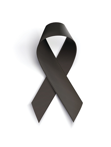 Realistic black awareness ribbon, isolated on white.