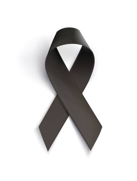 Realistic black awareness ribbon, isolated on white. Realistic black awareness ribbon, isolated on white.  Mourning and melanoma sign. Vector illustration grief stock illustrations