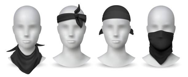 사실적인 검은 색 두다나. 흰색 마네킹, 바이커 블랭크 헤드 스카프 또는 붕대 템플릿에 손수건 또는 버프. 벡터 모형 설정 - 모자 모자류 stock illustrations