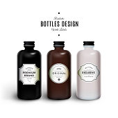 Realistic Black, Brown and White Vector Bottles with Vintage Labels. Product Packaging Design. Plastic Container Mock Up.