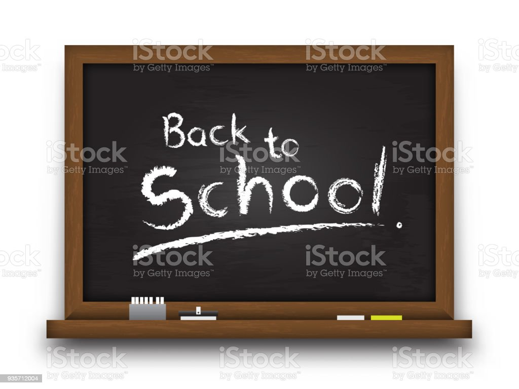 Realistic Black Color Chalkboard With Wooden Frame Detailed Texture ...
