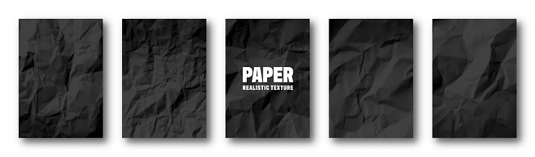 Realistic black crumpled paper texture. Isolated rough grunge old blank. Torn edges. Vector illustration