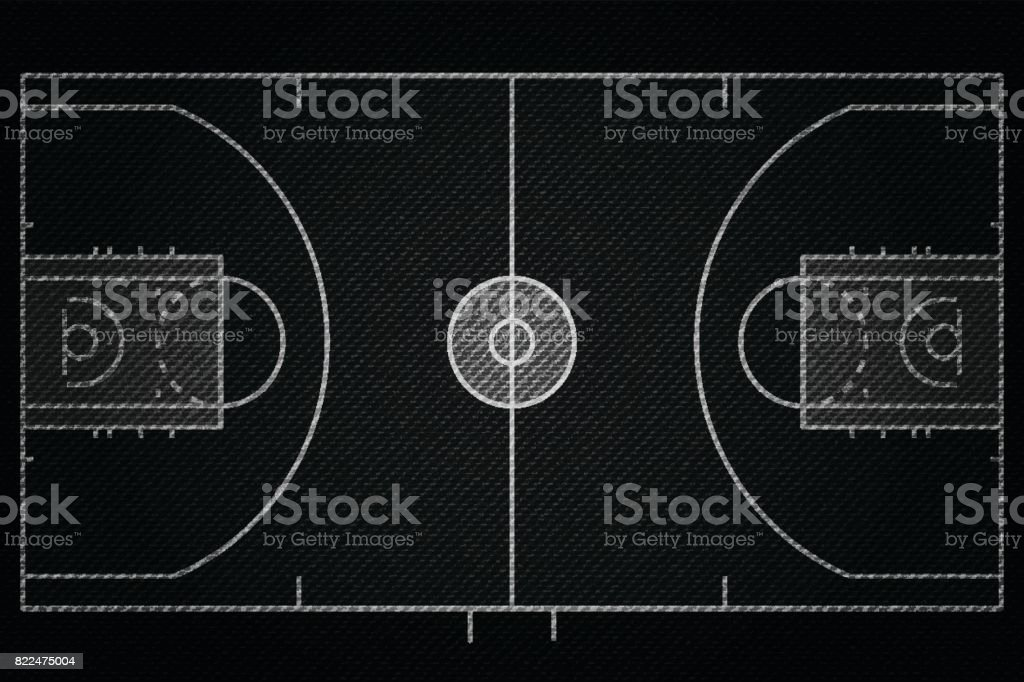 Realistic Black Denim texture of Basketball court field element vector illustration design concept vector art illustration