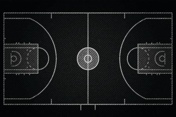 黑色牛仔質感逼真的籃球法院欄位元素向量插圖設計概念向量藝術插圖