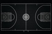 Realistic Black Denim texture of Basketball court field element vector illustration design concept