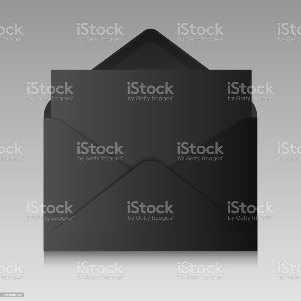 Realistic black envelope isolated on a background. Vector illustration. vector art illustration