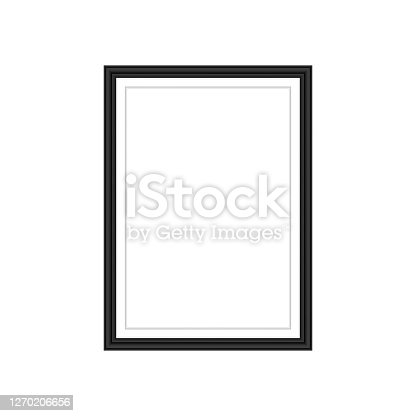 istock Realistic black frame isolated on grey background. Perfect for your presentations. Vector illustration. 1270206656