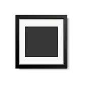 Realistic black frame  isolated on white background. vector illustration