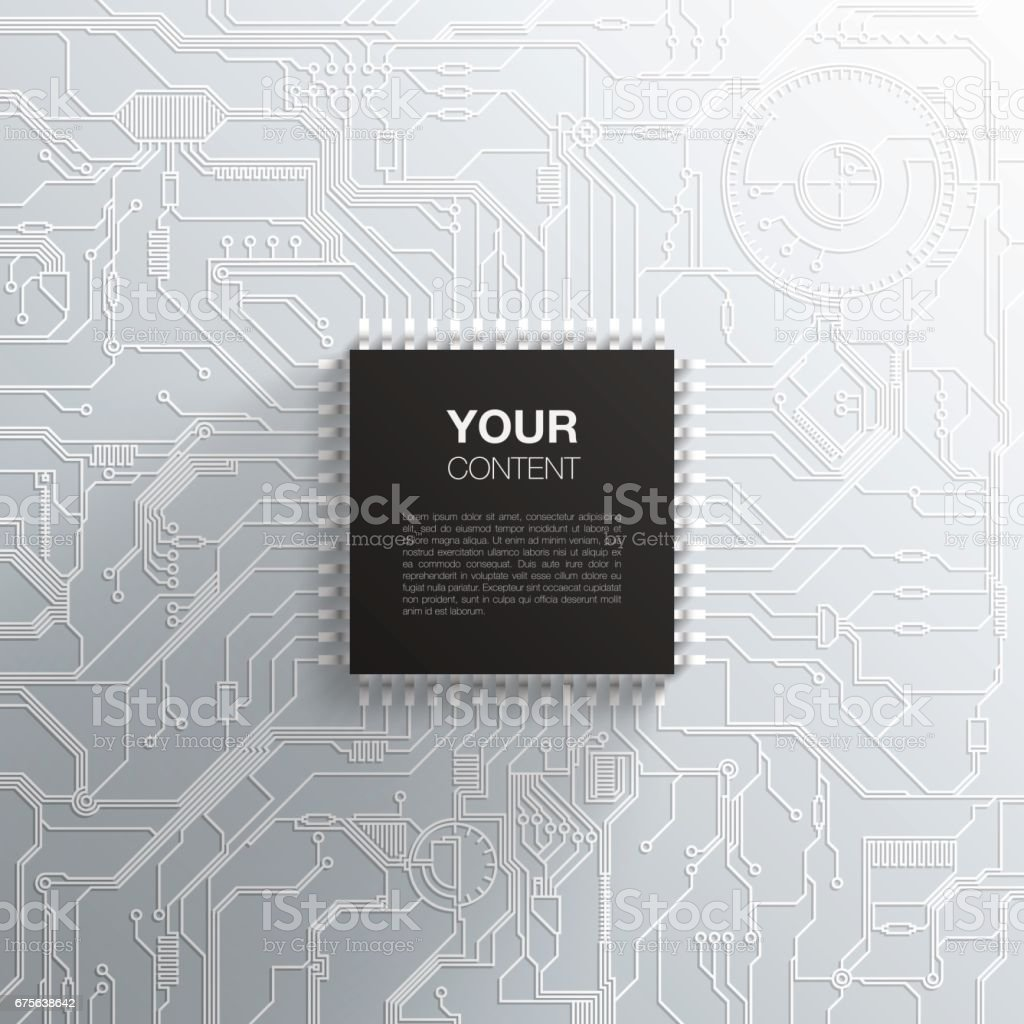 Realistic Black Microchip On Detailed Printed Circuit Board Design Detail Of A Royalty Free Stock Image