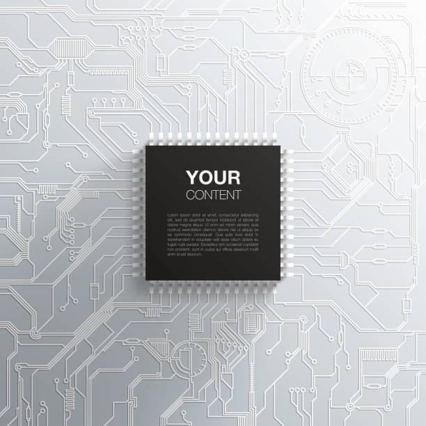 detaylı baskılı devre kartı tasarımı üzerinde gerçekçi siyah mikroçip - cpu stock illustrations
