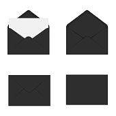 Realistic black mockup envelope for letter or invitation card. Vector.