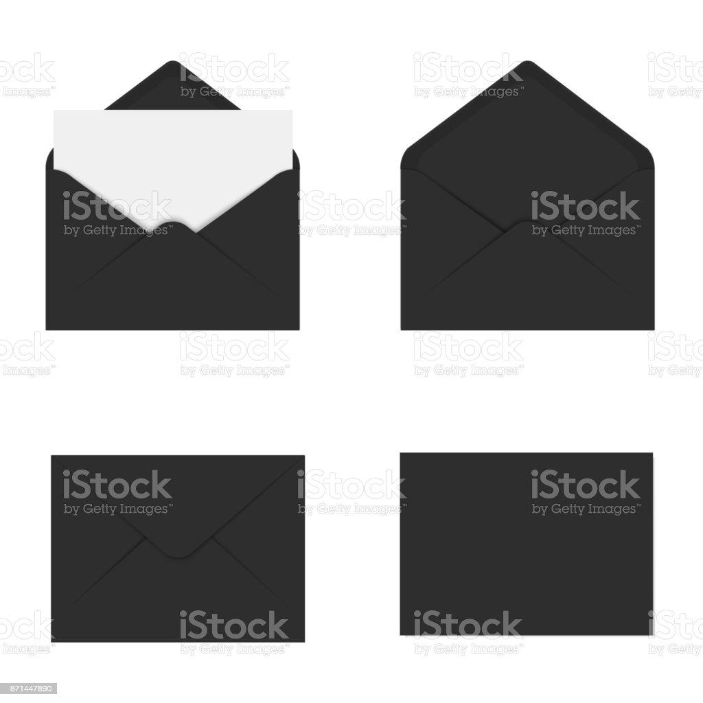 Realistic black mockup envelope for letter or invitation card. Vector. vector art illustration