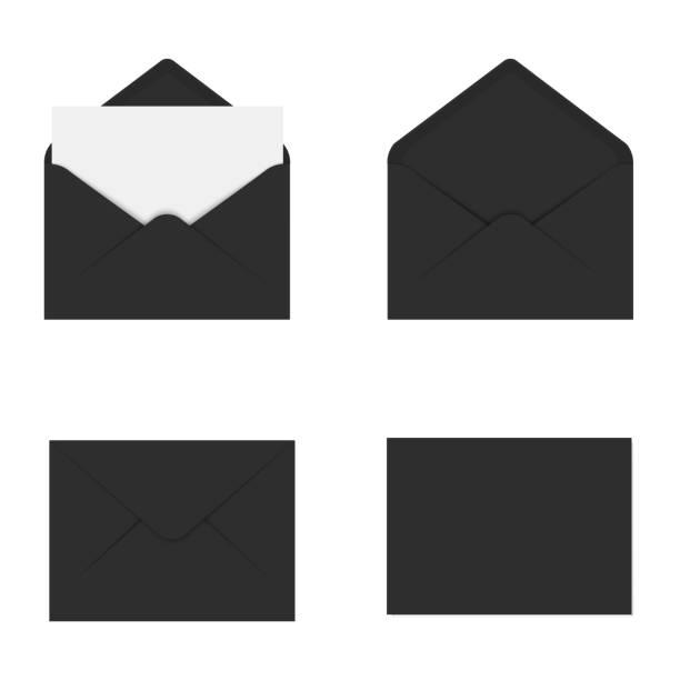 Realistische Schwarz Modell Umschlag für Brief oder Einladung Karte. Vektor. – Vektorgrafik