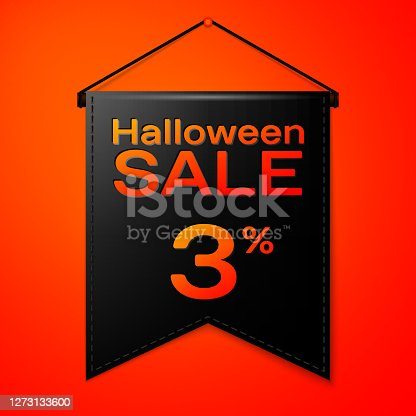 istock Realistic Black pennant with inscription Halloween Sale Three percent for discount on red background. Colorful sticker, banner for sale, shopping, business theme. Vector illustration 1273133600