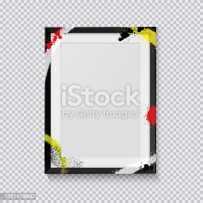 istock Realistic black photo frame painted with graffiti paint on a transparent background. Vector illustration. 1331479900