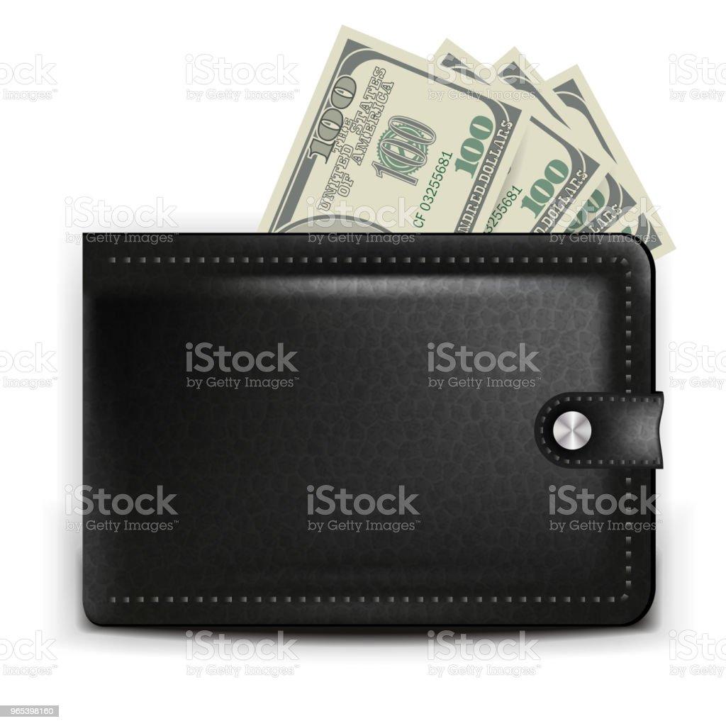 Un sac à main noir réaliste avec une carte de paiement et pièces - clipart vectoriel de Acheter libre de droits